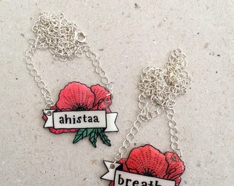 Poppy Banner Necklace with Customizable Text