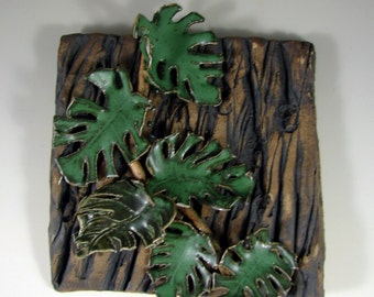 """Ceramic Tile Wall Hanging - 8"""" x 8"""" in. Ceramic Wall Sculpture - Forest Vines - Handmade Pottery Stoneware"""