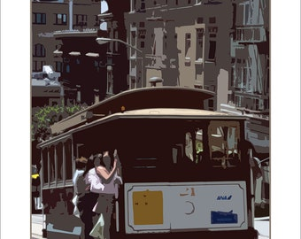 San Francisco Cable Car stylized image - art poster print