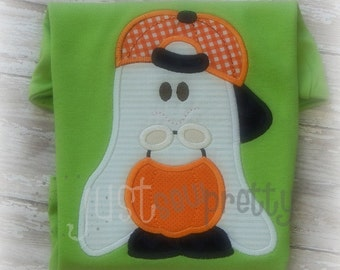 Little Ghost Boy Halloween Embroidery Applique Design