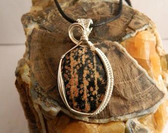 Leopard Skin Jasper Wire Wrapped Pendant - Wire Wrapped Jasper Pendant - Leopard Skin Jasper Necklace
