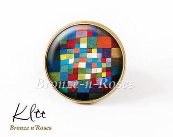 Multicolored ° retro blue cabochon ring ° tiles bronze Paul Klee