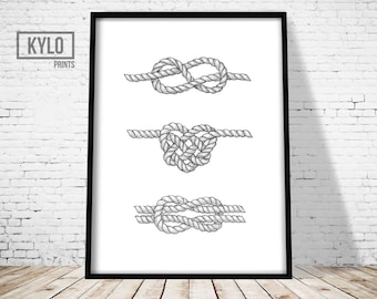 Nautical Knots Print, Wall Art Print, Nautical Art, Knots art, Minimalist print, Boat Print, Home Print, Modern Print, Nautical Rope Print,