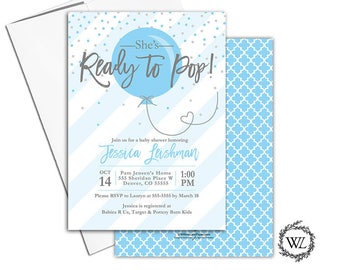 Ready to pop baby shower invitation for a boy, blue and gray baby shower invites with stripes, confetti, envelopes - PRINTED - WLP00774