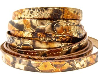 Strap leather snakeskin metallic 10 mm sold by 20 cm
