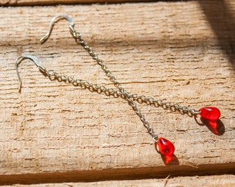 Red Droplet Earrings