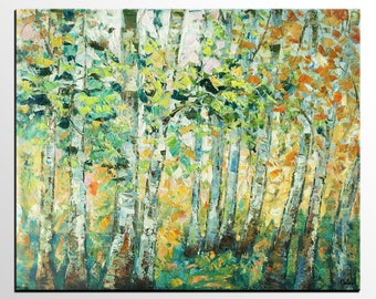 Oil Painting Landscape, Canvas Art, Original Painting, Birch Tree Painting, Living Room Wall Art, Large Abstract Art, Large Canvas Painting