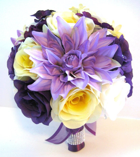 Wedding silk flowers bouquet bridal purple yellow lavender mightylinksfo