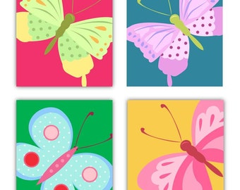Butterfly Art Prints // Decor For Girls Room // Butterfly Nursery decor // Butterfly Wall Art // Butter Fly Decor // Four Prints Only