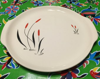 Vintage Harmony House Cattail Ballet Cherry Red dinnerware platter with handles