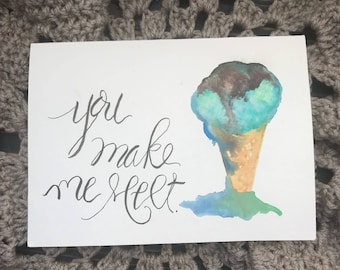 Ice Cream Love, Valentine's Day, Thank You or Just Because Card