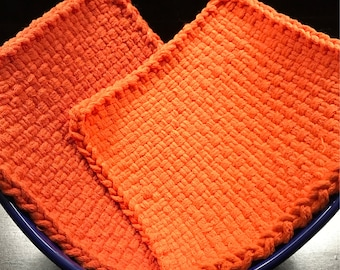 Handmade Large Woven Potholder Duo Set in Orange