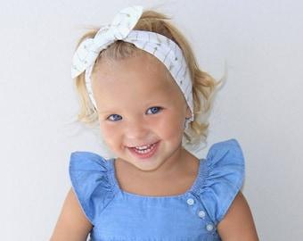 Arrow Gold baby headband, White gold arrow Baby, knot,  girls, metallic,white arrow baby headband