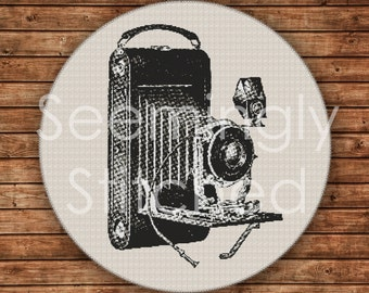 Counted Cross Stitch Pattern - Vintage Camera - Instant Digital Download PDF