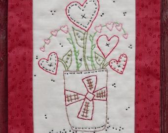 VALENTINE embroidery bouquet PATTERN - PDF primitive stitchery heart quilt pdf wallhanging decor posies flowers