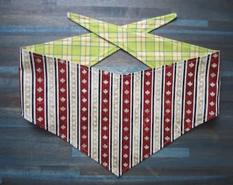 M-Lg reversible tie on dog bandana - Canada Day maple leaf stripe/green plaid Kanine Kerchief