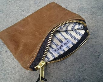 Small zipped Pouch // Purse // Wallet //  Sand Waxed Canvas