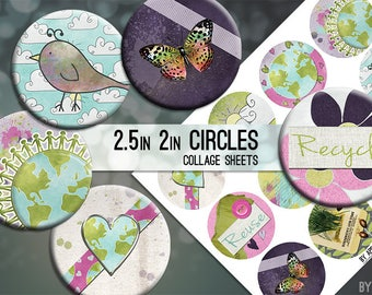 Love the Earth Go Green Recycle Digital Collage Sheet 2.5 Inch and 2in Circle Download Printable Images for Gift Tags Cards Scrapbooking JPG