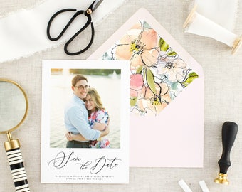 Modern Save the Date with Photo - Calligraphy Save the Date Card - Wedding Save the Date Printed - Elegant Save the Date Wedding - Set of 10