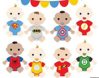SuperBaby Boys Clipart, Superhero Baby Clipart