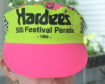90s Painters Hat Hardee's 500 Festival Parade 1992 Indianapolis 500 Checkered Flags Neon Pink Yellow Cap