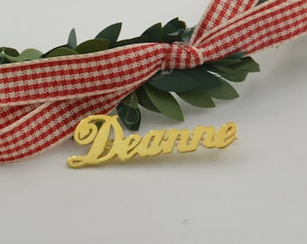 Gold name brooch,silver name jewelry plated 18kgold,Personalized Christmas gifts for everyone