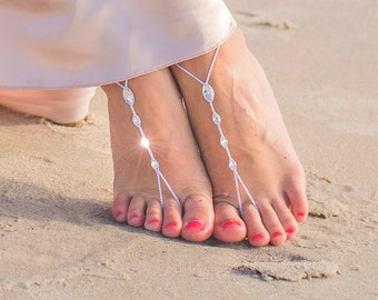 Barefoot Sandals for a Summer Beach Wedding, Foot Jewelry, Swarovski Crystals Footless Shoes, Destination Bride and Bridesmaid Gift- MCC