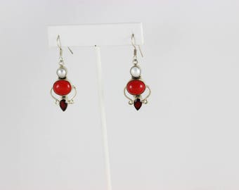 Sterling Silver Coral Pearl and Garnet Dangle Drop Earrings.