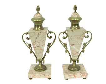 Antique French Gilt & Marble Cassolettes, Pair Paris Apartment Decor  French Marble French Urns French Bronze