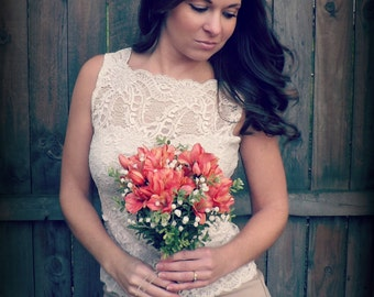 Country Rustic Bridal Party Bouquet - Coral Pink flowers Cream colored Baby's Breath Burlap Salmon Satin Ribbon Hemp Twine