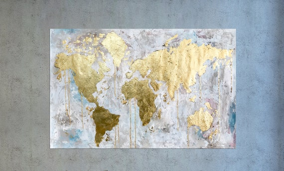 World map large world map gold leaf painting map of the 50 gumiabroncs Gallery