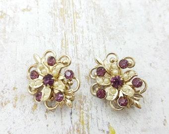 Duette Fleur De Lis pins Amethyst and pearls gold tone Regal
