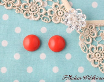 """Coral-Buttons"" vintage stud earrings 12 mm"