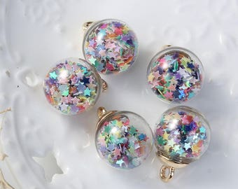 """5 charms """"Globe"""" glass and 2.2 cm gold / multicolor star"""