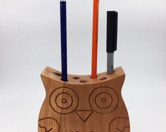 Oak Wood Owl Pencil Holder
