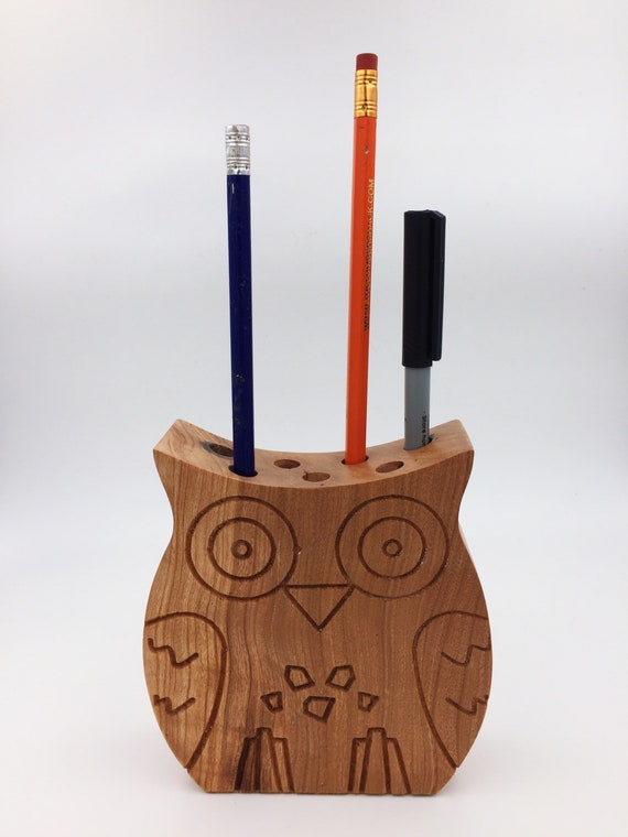Oak Wood Owl Pencil Holder