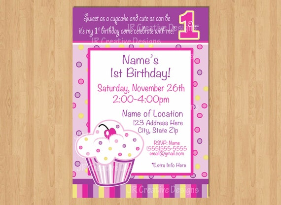 First birthday cupcake invitation cupcake invite birthday like this item filmwisefo