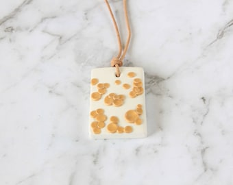 White Necklace, Gold Pendant Necklace, White Gold Polymer Necklace, Gold Polymer Clay, Beaded Necklace, Neutral Patterned Necklace
