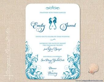 Seahorse Wedding Invitation, Beach Wedding Invitations, Nautical Invites, Tropical, Destination Wedding, Elopement Announcement, Reception