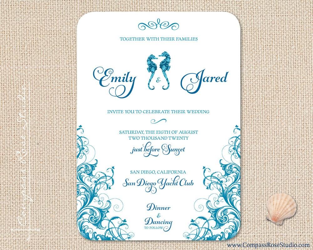 Seahorse Wedding Invitation Beach Wedding Invitations