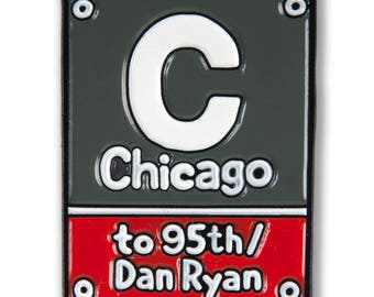 Chicago Red Line Station Stop Enamel Pin
