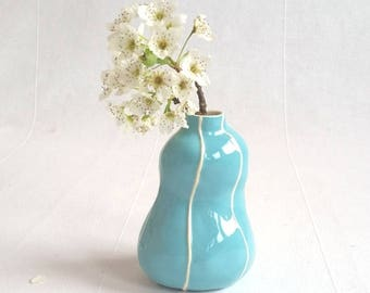 Small vase. Handmade pottery bud vase, bright colors. red, green, blue, yellow vase. hostess gift, housewarming gift under 40. Simple style