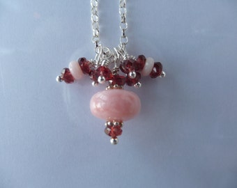 Pink opal and garnet necklace