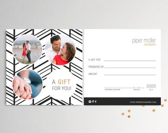 Elvira double sided gift certificate template - Instant download