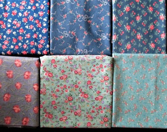 Vintage Lot of 6 Shades of Blue Cotton Fabric Pieces 4+ yds Quilting Doll Making
