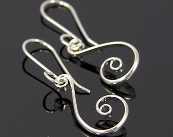 Small Silver Fibonacci Spiral Earrings, Petite Argentium Sterling Silver Spiral Earrings, Small Kiki Earrings  SE7