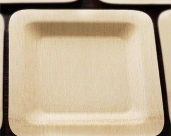 Square Bamboo Plate, 10 pack, Eco Friendly Compostable Tableware, Party Tableware, Eco Wedding Decor, Party Supplies, BBQ Supplies