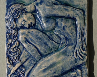 Figurative Relief Sculpture Nude Female Ceramic Tile or Wall Hanging
