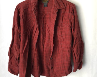Vintage Red and Black Flannel Size Medium  -Indie  Distressed - Retro - Grunge - Button Front- Plaid- Hip hop - Womens