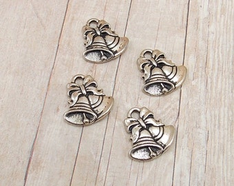 Set of 4 Tierra Cast Silver Pewter Charms - Christmas Bells with Bows - Antique Silver Finish